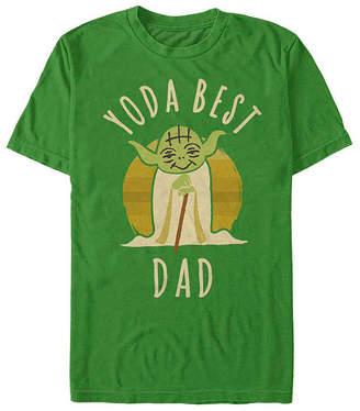 Fifth Sun Slim Yoda Best Dad Simple Cartoon Mens Crew Neck Short Sleeve Star Wars Graphic T-Shirt