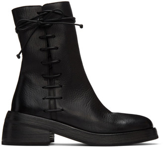 Marsèll Black Fondello Side Lace Ankle Boots