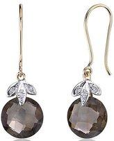 Peora 10 Karat Two Tone Gold 7.00 carat Checkerboard Cut Smoky Quartz Diamond Earrings