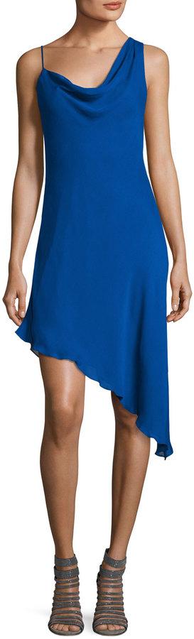 Haute Hippie Audrey Cowl-Neck Silk Mini Dress, Blue
