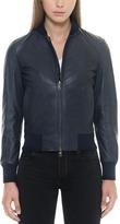 Forzieri Midnight Blue Leather Women's Bomber Jacket