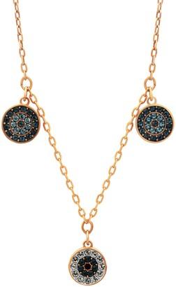 Swarovski Luckily 18K Rose Gold Plated Pave Crystal Charm Choker Necklace