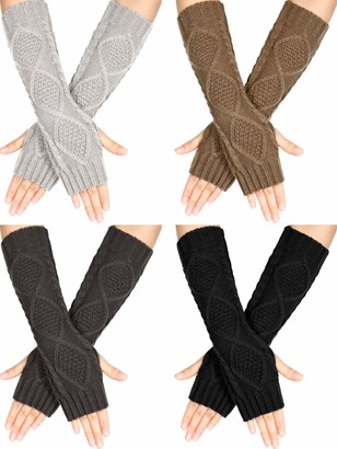 Satinior 4 Pairs Winter Knit Warm Long Glove Thumbhole Fingerless Gloves Arm Warmers Glove for Women