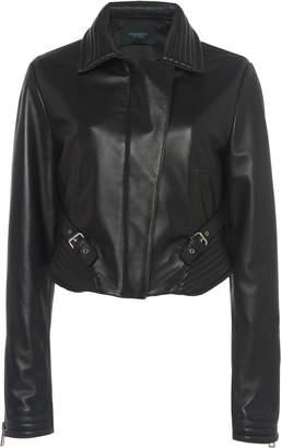 Giambattista Valli Buckle-Trimmed Leather Jacket