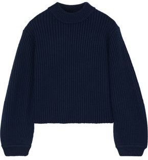 Tibi Cropped Ribbed Merino Wool Sweater