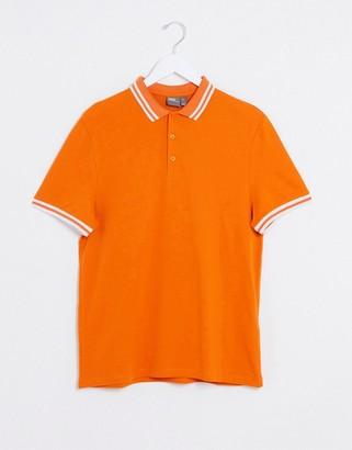 ASOS DESIGN organic tipped pique polo shirt in orange