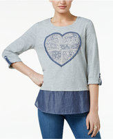 Style&Co. Style & Co Heart-Appliqué Roll-Tab Top, Only at Macy's