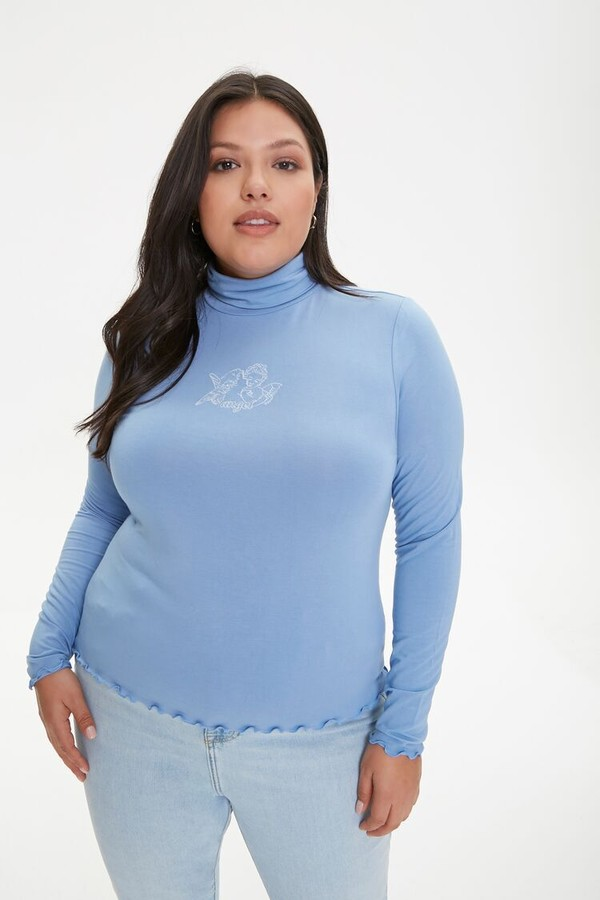 Forever 21 Plus Size Angel Embroidered Graphic Top