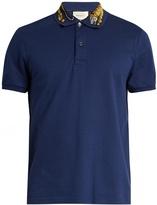 Gucci Tiger-appliqué cotton-blend piqué polo shirt