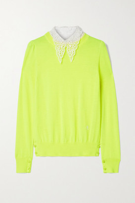 Adam Lippes Poplin And Crocheted Lace-trimmed Wool Sweater - Yellow