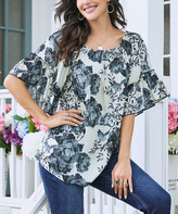 Suzanne Betro Weekend Women's Tunics 101IVORY/BLACK/GREY - Ivory & Black Floral Bell-Sleeve Top - Women & Plus