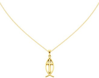 Primal Gold 14 Karat Yellow Gold Ichthus Fish Pendant with 18 Inch Cable Chain