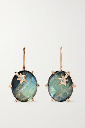 Andrea Fohrman Mini Galaxy 18-karat Rose Gold, Labradorite And Diamond Earrings