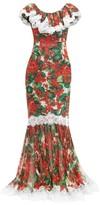 Dolce & Gabbana Geranium-print Lace-trim Silk-blend Gown - Womens - Red Multi