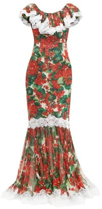 Dolce & Gabbana Geranium-print Lace-trim Silk-blend Gown - Womens - Red Multi