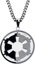 Star Wars FINE JEWELRY Death Star Symbol Mens Stainless Steel and Black IP Pendant Necklace