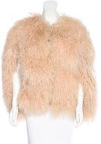 TSE Shearling Scoop Neck Cape