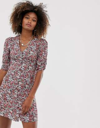 AllSaints malie wilde floral tea mini dress with short sleeves-Blue