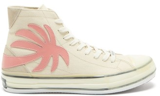 Palm Angels Palm Tree-patch Leather High-top Trainers - Nude