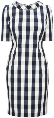 Rumour London Juliette Navy Stretch Cotton Gingham Dress with Raised Collar