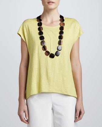 Eileen Fisher Top-Stitched Linen Jersey Tee, Women's