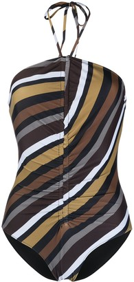 Ganni Striped Halterneck Swimsuit