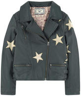 Scotch & Soda Star-printed leather biker jacket