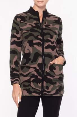 Alison Sheri Camo Zippered Sweater