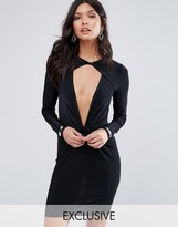 Missguided Exclusive Twist Front Slinky Mini Dress