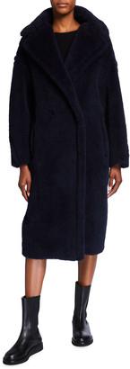 Max Mara Double-Breasted Teddy Coat, Navy