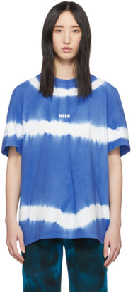MSGM Blue Tie-Dye Logo T-Shirt