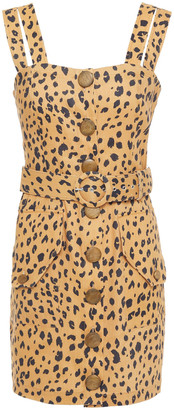 Nicholas Belted Leopard-print Tencel-blend Mini Dress