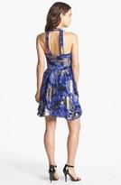 Nicole Miller Metallic Print Silk Fit & Flare Dress