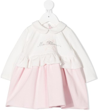 Miss Blumarine Ruffled Embroider Logo Dress