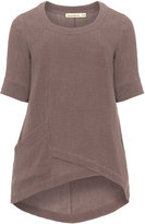 Isolde Roth Plus Size Linen blend asymmetric hem top