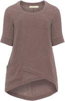 Isolde Roth Plus Size Linen blend asymmetric hem top
