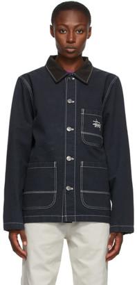 Stussy Navy Brushed Moleskin Chore Jacket