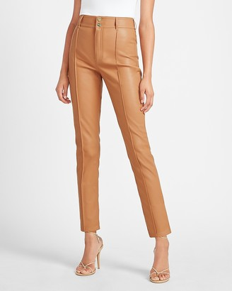 Express Super High Waisted Vegan Leather Seamed Slim Ankle Pant
