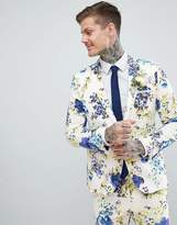 Asos DESIGN Wedding Skinny Suit Jacket In White Cotton Floral Print