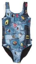 Girl's Terez Pocket Print One-Piece Swimsuit