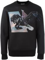 Neil Barrett horse hawk print sweatshirt