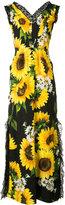 Dolce & Gabbana sunflower print long dress - women - Cotton/Polyamide/Viscose - 40