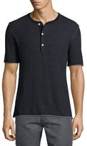 Billy Reid Short-Sleeve Henley Sweater, Navy