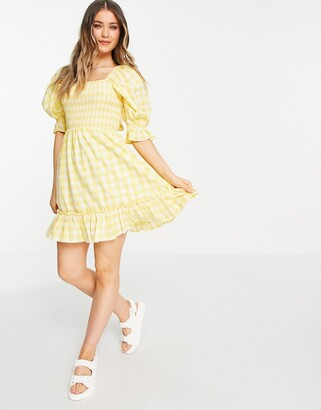 New Look tie back shirred smock dress in yellow gingham