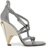 Jimmy Choo Kissy metallic textured-leather sandals