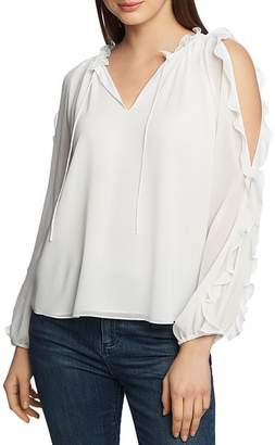 1 STATE 1.STATE Ruffled Cold-Shoulder Top