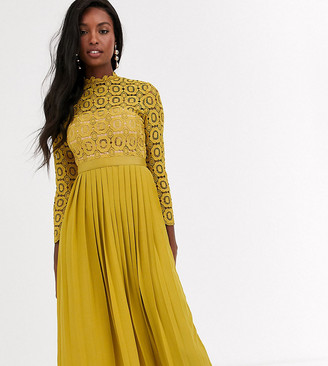 Little Mistress Tall midi length long sleeve lace dress in mustard-Yellow