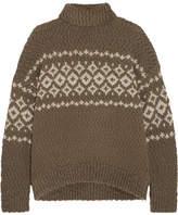 Vince Fair Isle Wool-blend Turtleneck Sweater - Gray