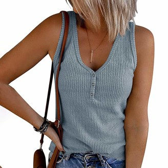 Betory Summer Tank Tops for Women Waffle Knit Tunic Tops V Neck Henley Sleeveless Button Up Shirts Loose Blouses Vests(White Small)