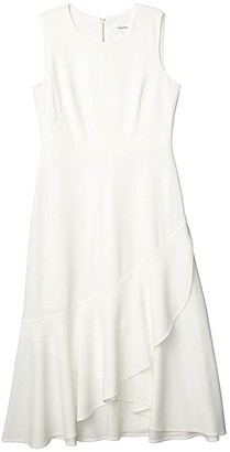 Calvin Klein Ruffle Hem Midi Dress (Cream) Women's Dress